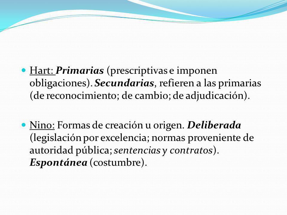 Hart: Primarias (prescriptivas e imponen obligaciones).