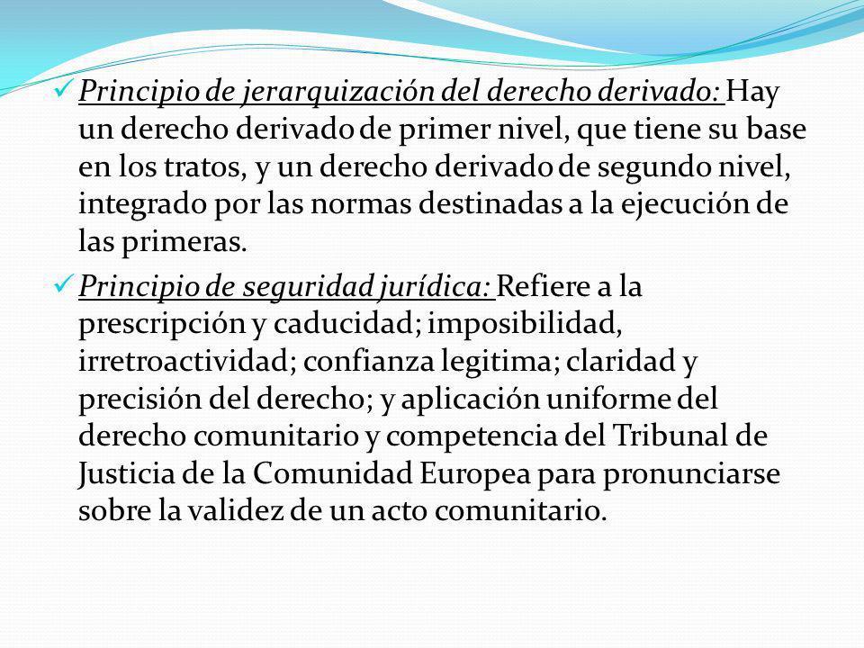 Principio de jerarquización del derecho derivado: Hay un derecho derivado de primer nivel, que tiene su base en los tratos, y un derecho derivado de segundo nivel, integrado por las normas destinadas a la ejecución de las primeras.