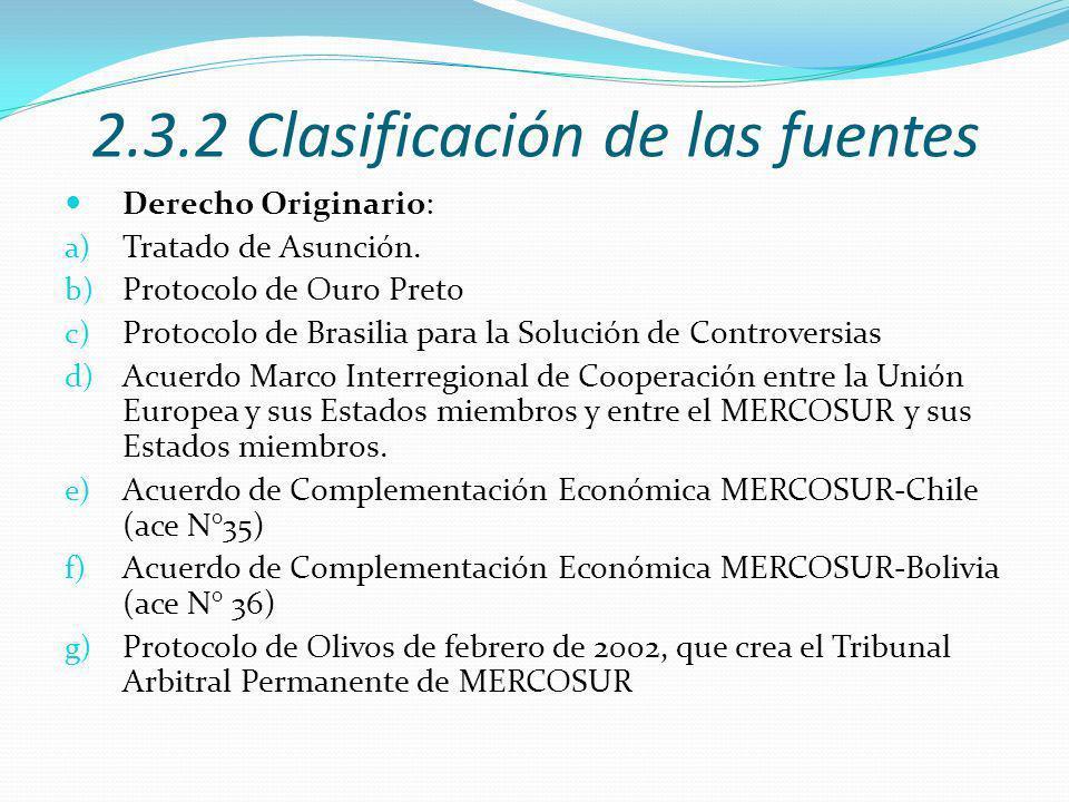 2.3.2 Clasificación de las fuentes Derecho Originario: a) Tratado de Asunción.