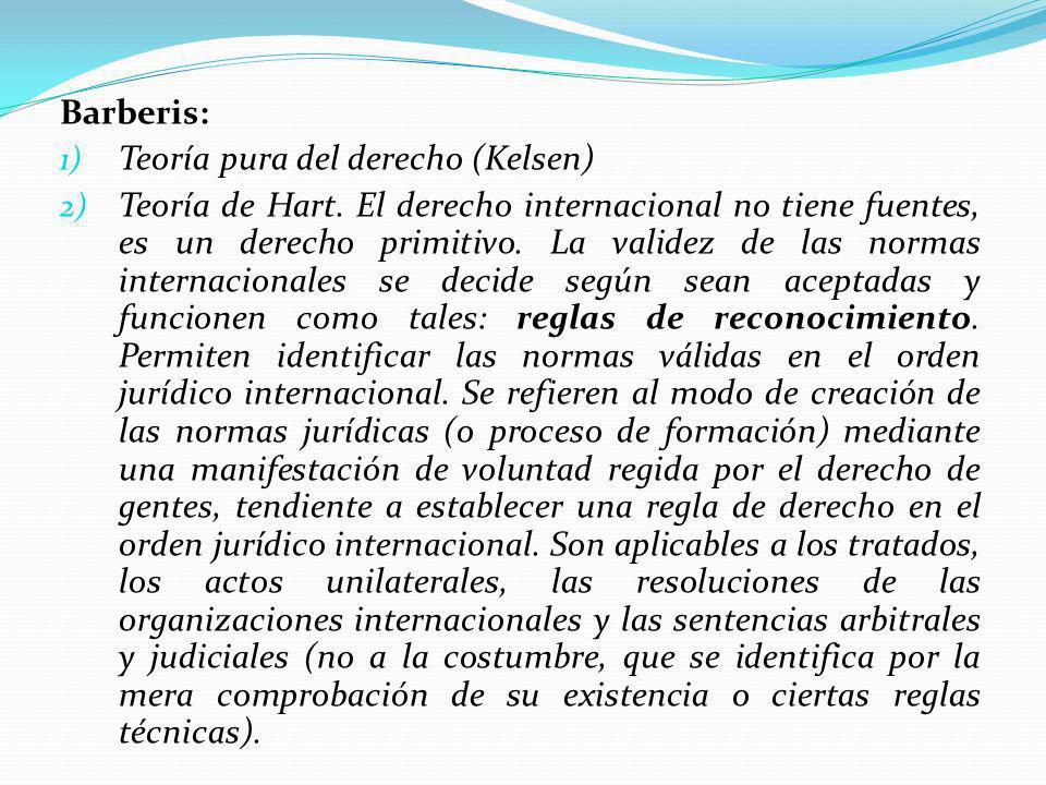 Barberis: 1) Teoría pura del derecho (Kelsen) 2) Teoría de Hart.