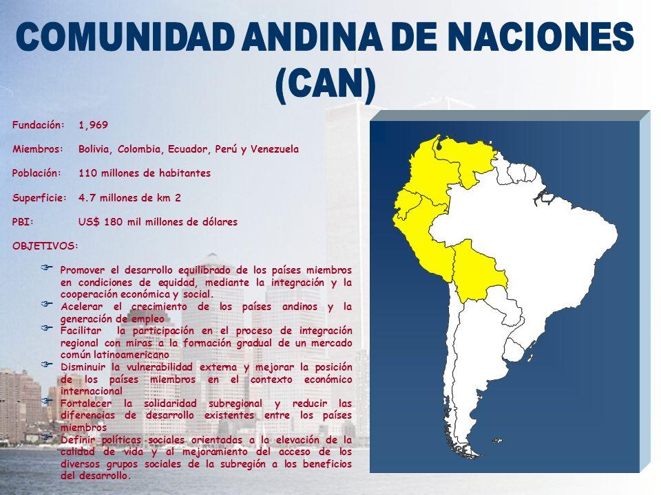 Fundación:1,969 Miembros:Bolivia, Colombia, Ecuador, Perú y Venezuela Población:110 millones de habitantes Superficie:4.7 millones de km 2 PBI:US$ 180