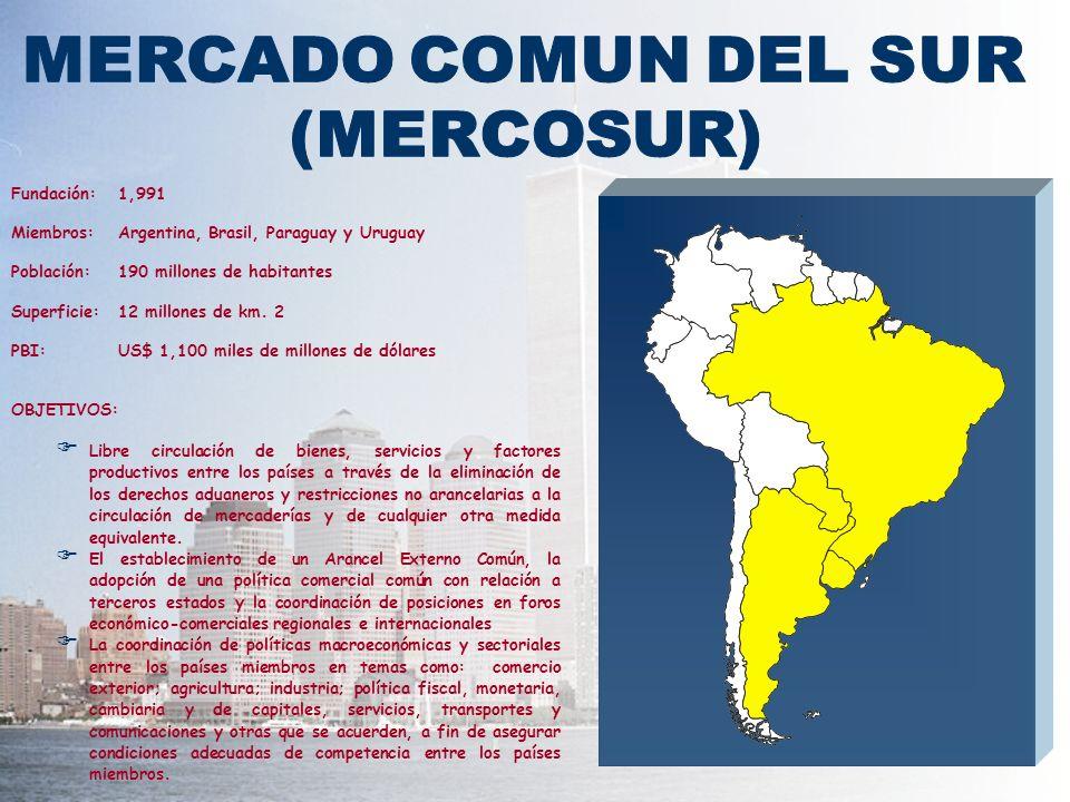 Fundación:1,991 Miembros:Argentina, Brasil, Paraguay y Uruguay Población:190 millones de habitantes Superficie:12 millones de km. 2 PBI:US$ 1,100 mile