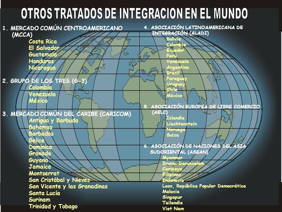 1. MERCADO COMÚN CENTROAMERICANO (MCCA) Costa Rica El Salvador Guatemala Honduras Nicaragua 2. GRUPO DE LOS TRES (G-3) Colombia Venezuela México 3. ME