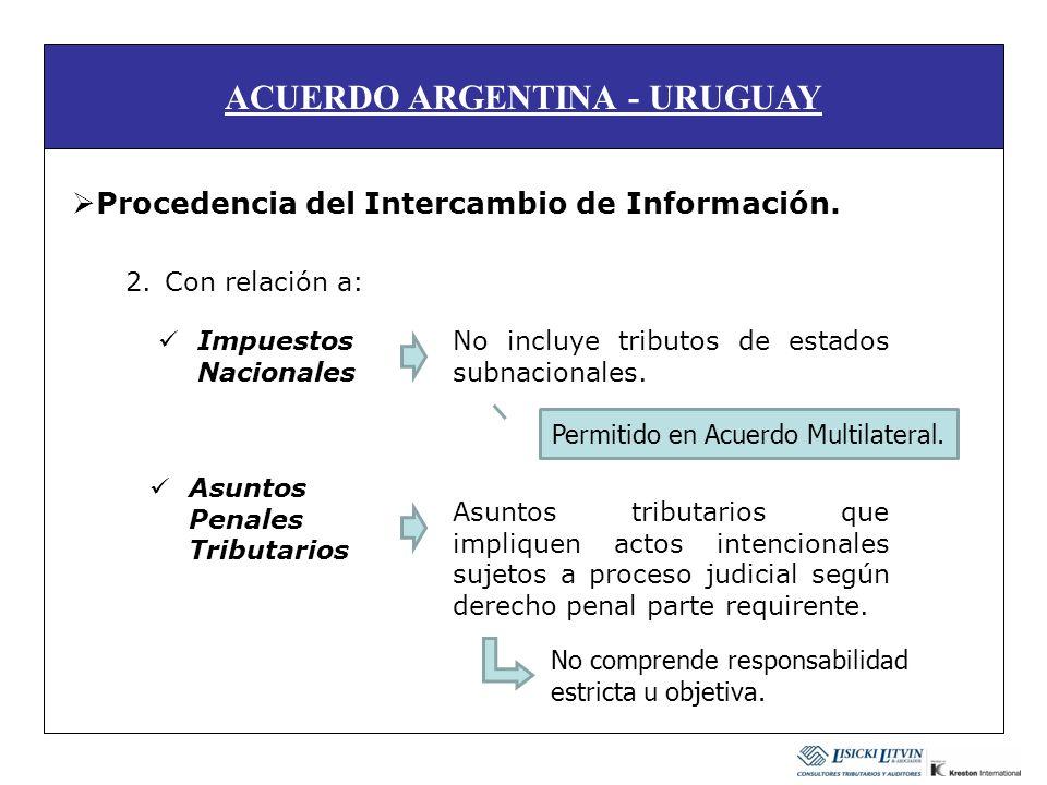 ACUERDO ARGENTINA - URUGUAY Procedencia del Intercambio de Información. 2.Con relación a: Impuestos Nacionales Asuntos Penales Tributarios No incluye