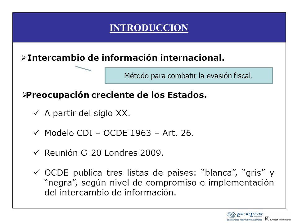 INTRODUCCION Intercambio de información internacional. A partir del siglo XX. Modelo CDI – OCDE 1963 – Art. 26. Reunión G-20 Londres 2009. OCDE public