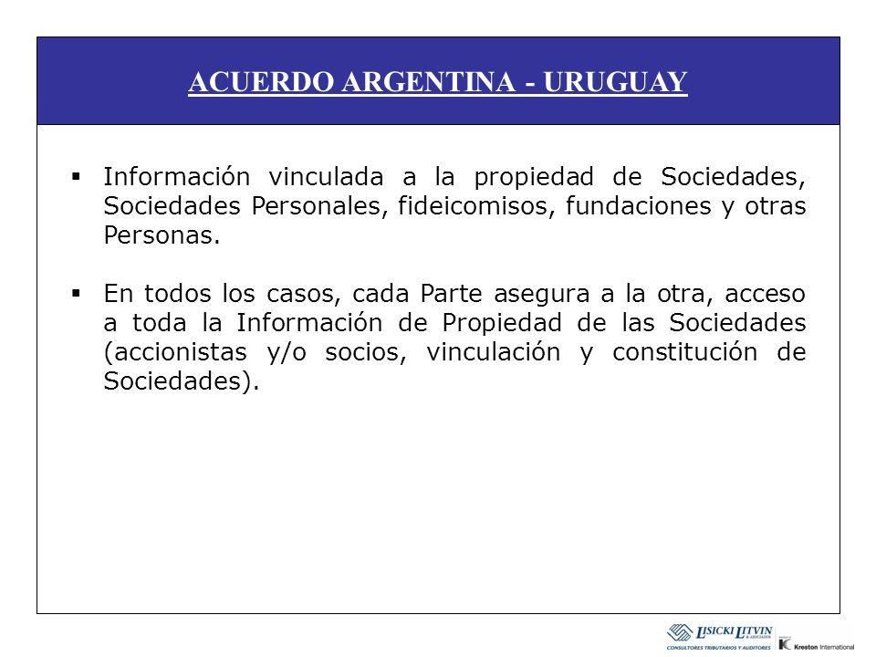 ACUERDO ARGENTINA - URUGUAY Información vinculada a la propiedad de Sociedades, Sociedades Personales, fideicomisos, fundaciones y otras Personas. En