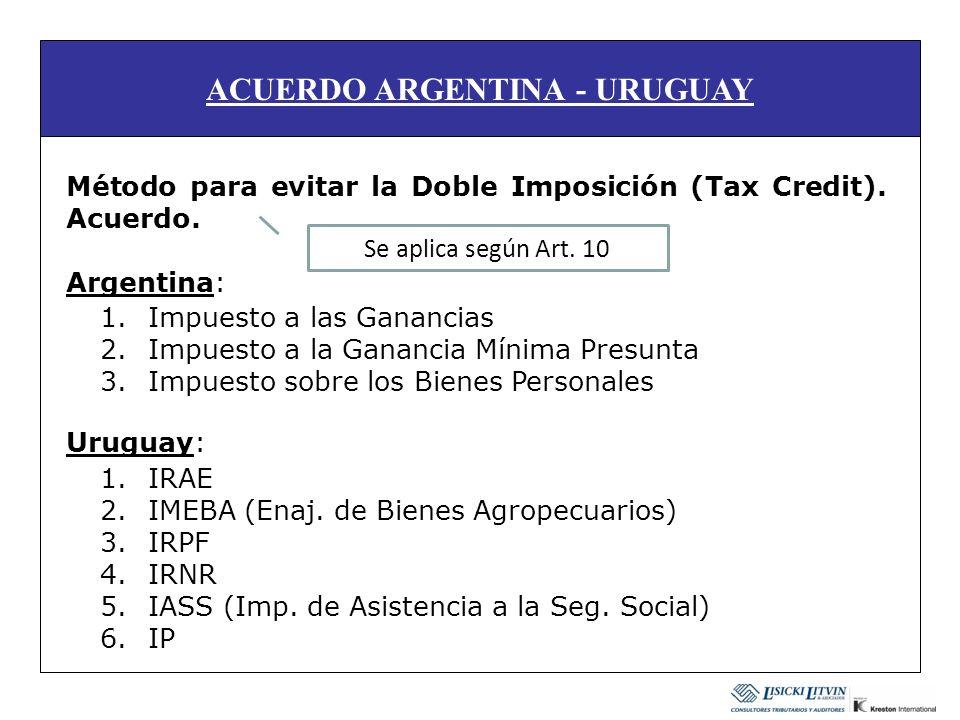 ACUERDO ARGENTINA - URUGUAY Método para evitar la Doble Imposición (Tax Credit). Acuerdo. Argentina: Uruguay: 1.Impuesto a las Ganancias 2.Impuesto a
