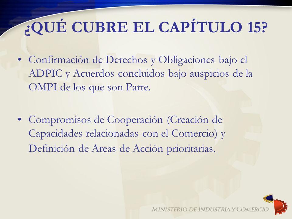 ¿QUÉ CUBRE EL CAPÍTULO 15? Confirmación de Derechos y Obligaciones bajo el ADPIC y Acuerdos concluidos bajo auspicios de la OMPI de los que son Parte.
