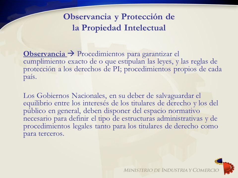 Observancia y Protección de la Propiedad Intelectual Observancia Procedimientos para garantizar el cumplimiento exacto de o que estipulan las leyes, y