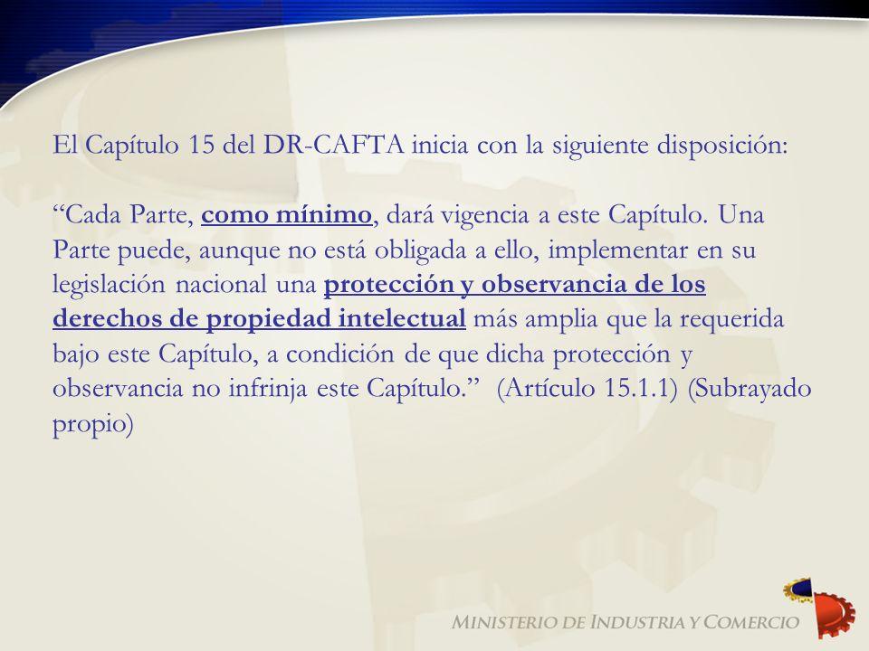 El Capítulo 15 del DR-CAFTA inicia con la siguiente disposición: Cada Parte, como mínimo, dará vigencia a este Capítulo. Una Parte puede, aunque no es
