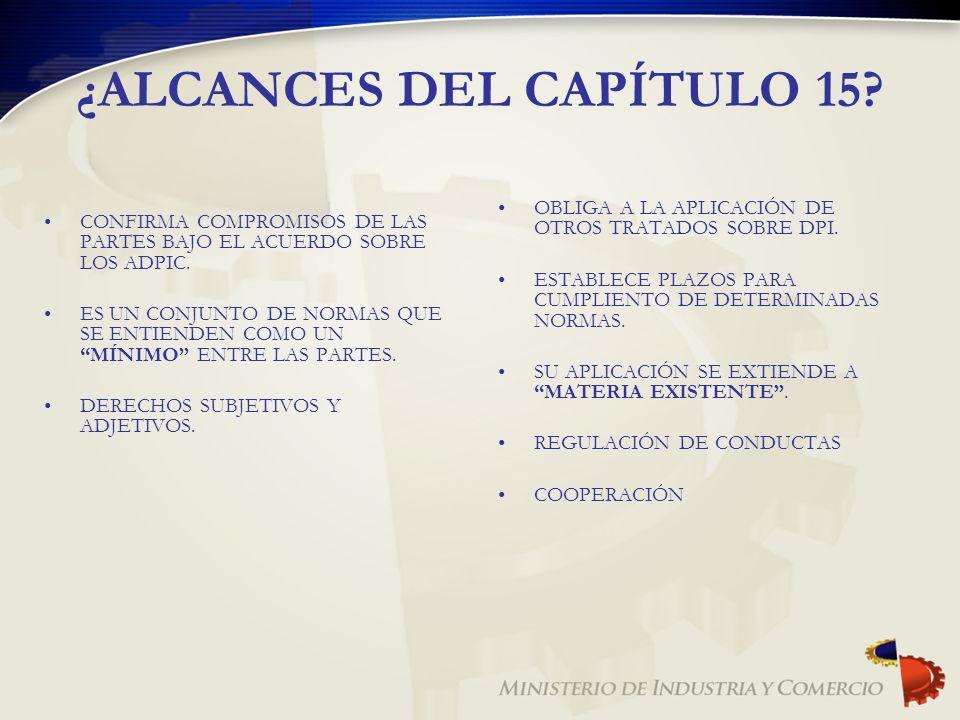 ¿ALCANCES DEL CAPÍTULO 15? CONFIRMA COMPROMISOS DE LAS PARTES BAJO EL ACUERDO SOBRE LOS ADPIC. ES UN CONJUNTO DE NORMAS QUE SE ENTIENDEN COMO UN MÍNIM