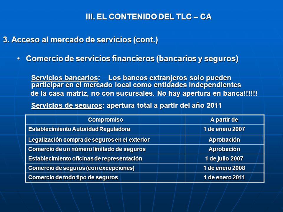 III. EL CONTENIDO DEL TLC – CA 3. Acceso al mercado de servicios (cont.) Comercio de servicios financieros (bancarios y seguros)Comercio de servicios