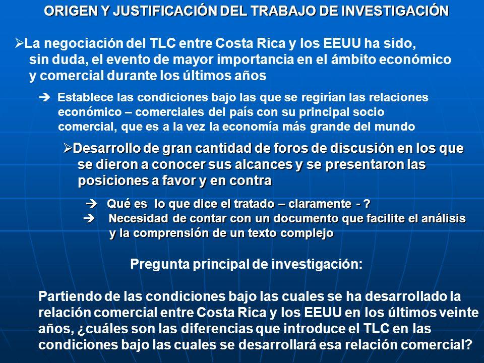 ORIGEN Y JUSTIFICACIÓN DEL TRABAJO DE INVESTIGACIÓN La negociación del TLC entre Costa Rica y los EEUU ha sido, sin duda, el evento de mayor importanc