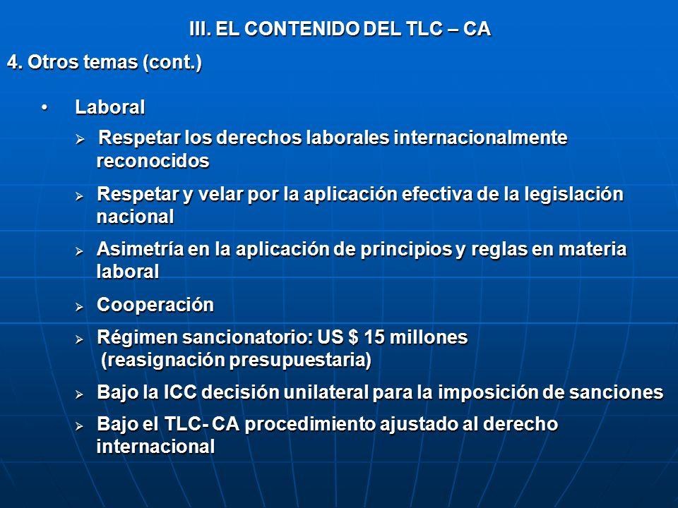 III. EL CONTENIDO DEL TLC – CA 4. Otros temas (cont.) Laboral Laboral Respetar los derechos laborales internacionalmente Respetar los derechos laboral