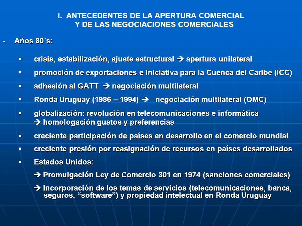 I. ANTECEDENTES DE LA APERTURA COMERCIAL Y DE LAS NEGOCIACIONES COMERCIALES Años 80´s: Años 80´s: crisis, estabilización, ajuste estructural apertura
