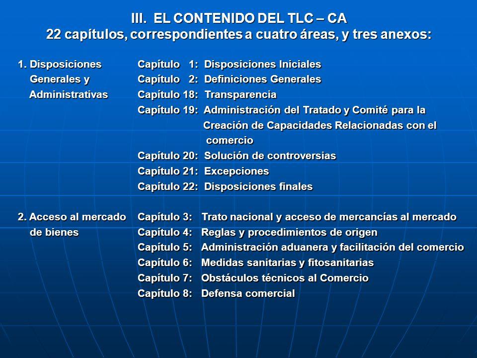 III. EL CONTENIDO DEL TLC – CA 22 capítulos, correspondientes a cuatro áreas, y tres anexos: 1. Disposiciones Generales y Generales y Administrativas