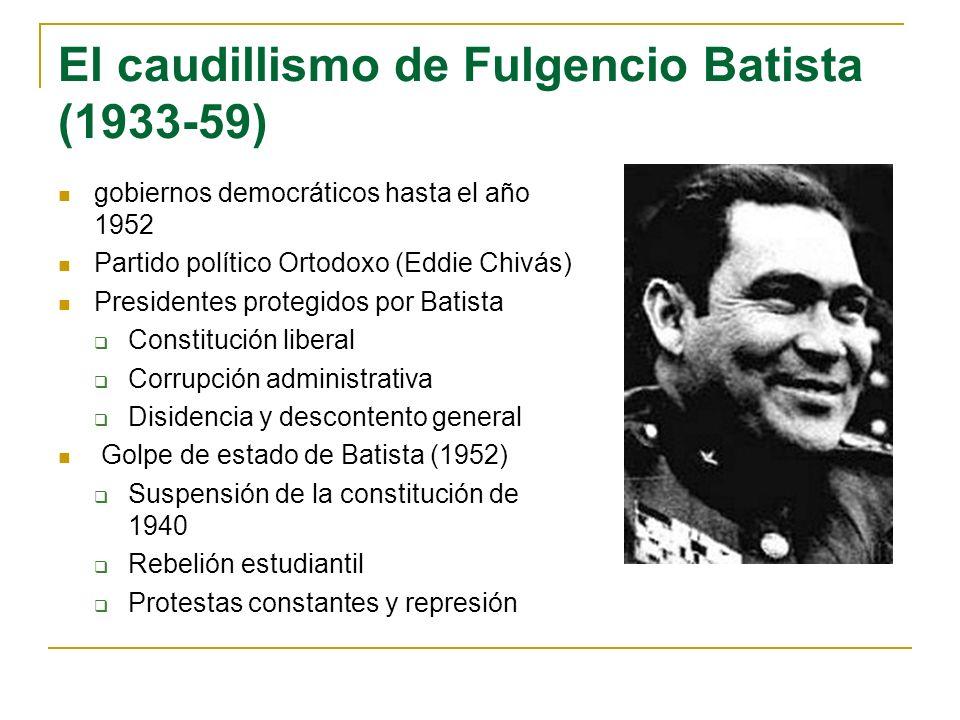 El caudillismo de Fulgencio Batista (1933-59) gobiernos democráticos hasta el año 1952 Partido político Ortodoxo (Eddie Chivás) Presidentes protegidos