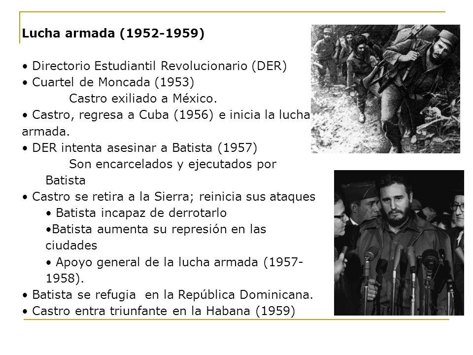 Lucha armada (1952-1959) Directorio Estudiantil Revolucionario (DER) Cuartel de Moncada (1953) Castro exiliado a México. Castro, regresa a Cuba (1956)