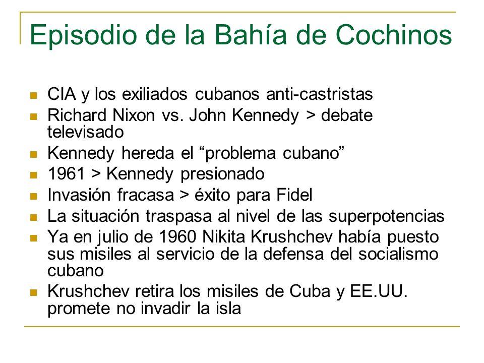Episodio de la Bahía de Cochinos CIA y los exiliados cubanos anti-castristas Richard Nixon vs. John Kennedy > debate televisado Kennedy hereda el prob