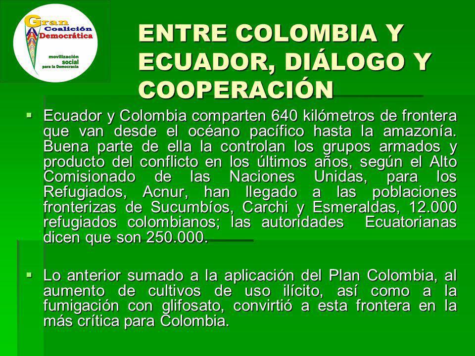 ENTRE COLOMBIA Y ECUADOR, DIÁLOGO Y COOPERACIÓN Ecuador y Colombia comparten 640 kilómetros de frontera que van desde el océano pacífico hasta la amazonía.
