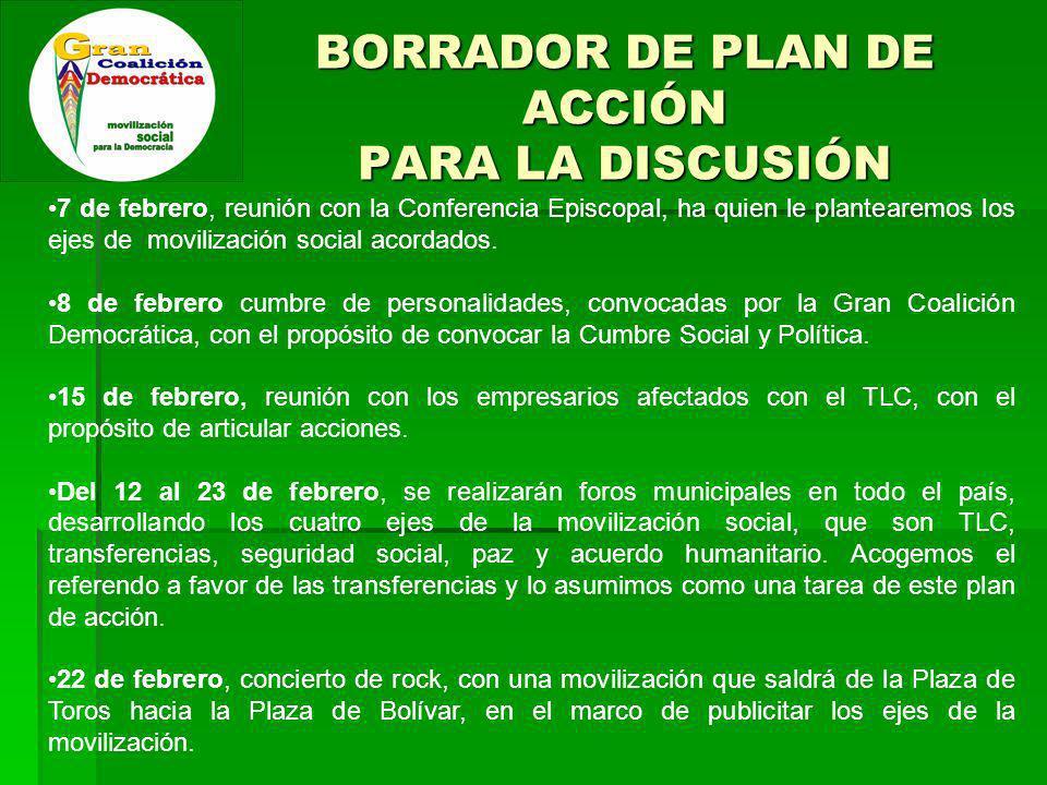 BORRADOR DE PLAN DE ACCIÓN PARA LA DISCUSIÓN 7 de febrero, reunión con la Conferencia Episcopal, ha quien le plantearemos los ejes de movilización social acordados.