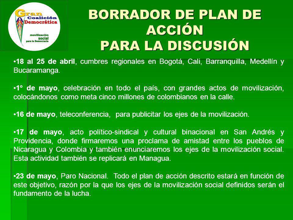 BORRADOR DE PLAN DE ACCIÓN PARA LA DISCUSIÓN 18 al 25 de abril, cumbres regionales en Bogotá, Cali, Barranquilla, Medellín y Bucaramanga.
