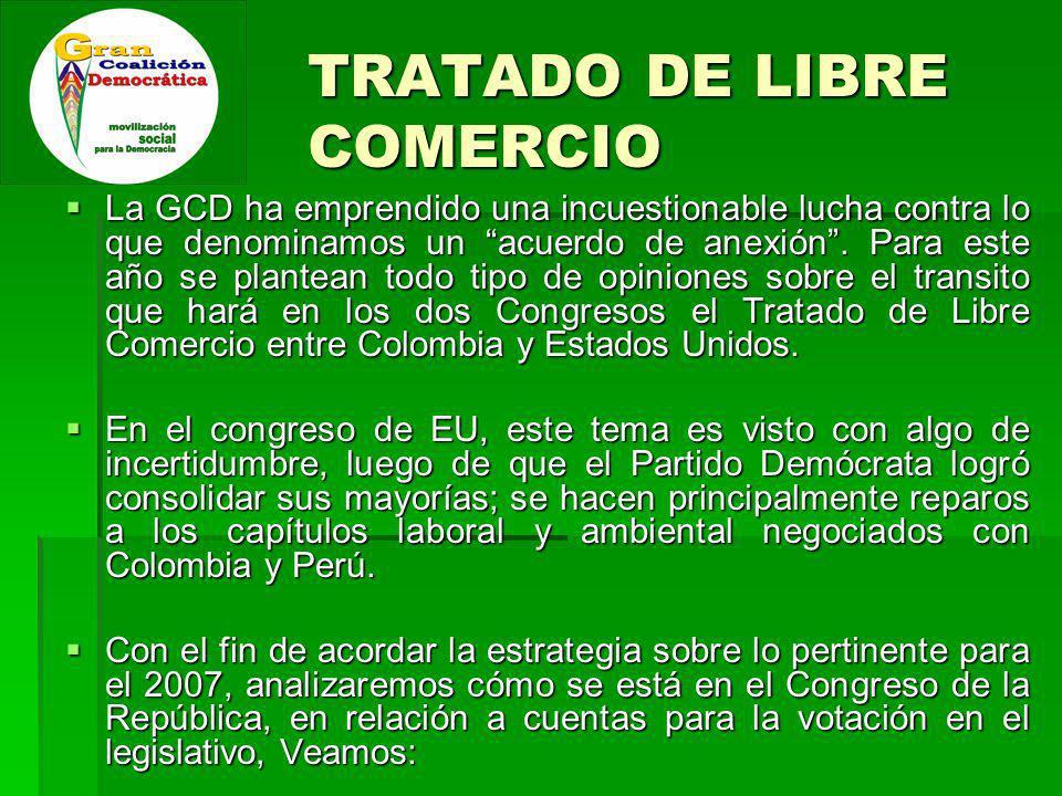 TRATADO DE LIBRE COMERCIO La GCD ha emprendido una incuestionable lucha contra lo que denominamos un acuerdo de anexión.