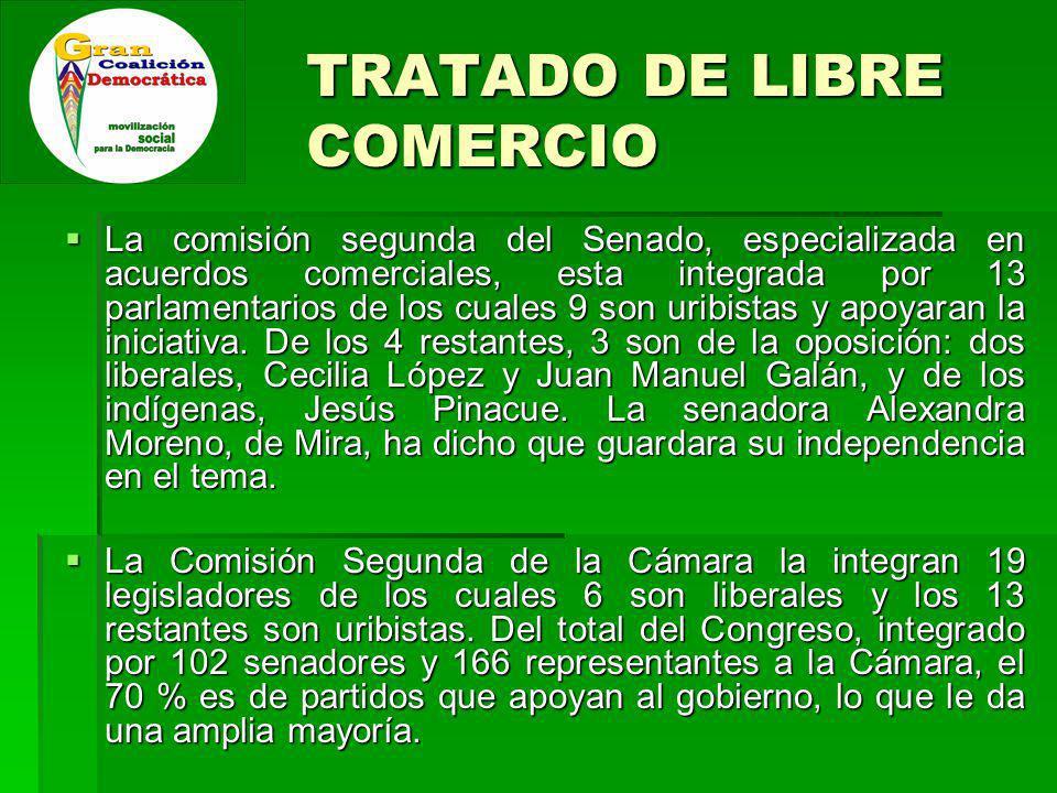 TRATADO DE LIBRE COMERCIO La comisión segunda del Senado, especializada en acuerdos comerciales, esta integrada por 13 parlamentarios de los cuales 9 son uribistas y apoyaran la iniciativa.