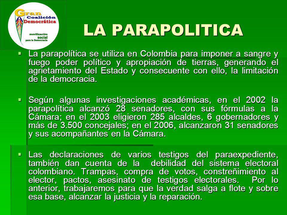 LA PARAPOLITICA La parapolítica se utiliza en Colombia para imponer a sangre y fuego poder político y apropiación de tierras, generando el agrietamiento del Estado y consecuente con ello, la limitación de la democracia.