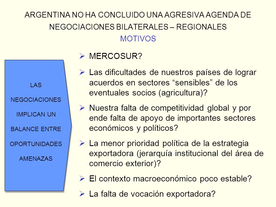 ARGENTINA NO HA CONCLUIDO UNA AGRESIVA AGENDA DE NEGOCIACIONES BILATERALES – REGIONALES MOTIVOS MERCOSUR? Las dificultades de nuestros países de logra