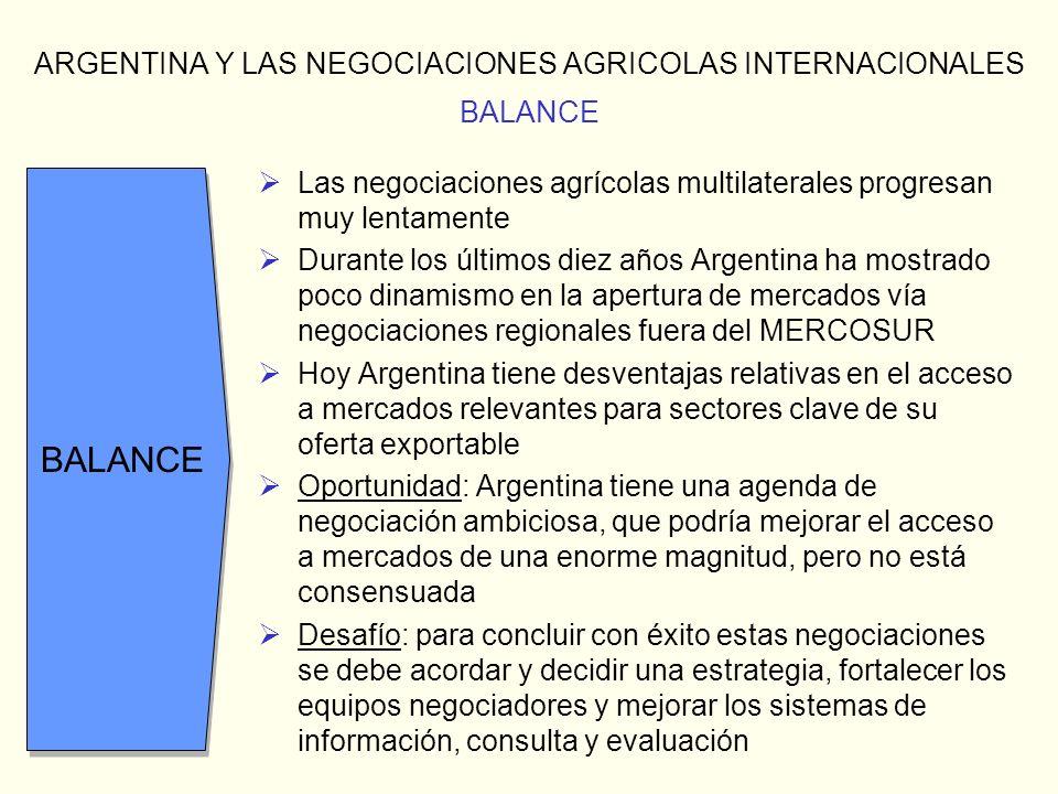 ARGENTINA Y LAS NEGOCIACIONES AGRICOLAS INTERNACIONALES BALANCE Las negociaciones agrícolas multilaterales progresan muy lentamente Durante los último