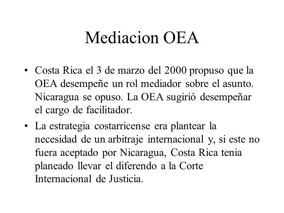Mediacion OEA Costa Rica el 3 de marzo del 2000 propuso que la OEA desempeñe un rol mediador sobre el asunto. Nicaragua se opuso. La OEA sugirió desem