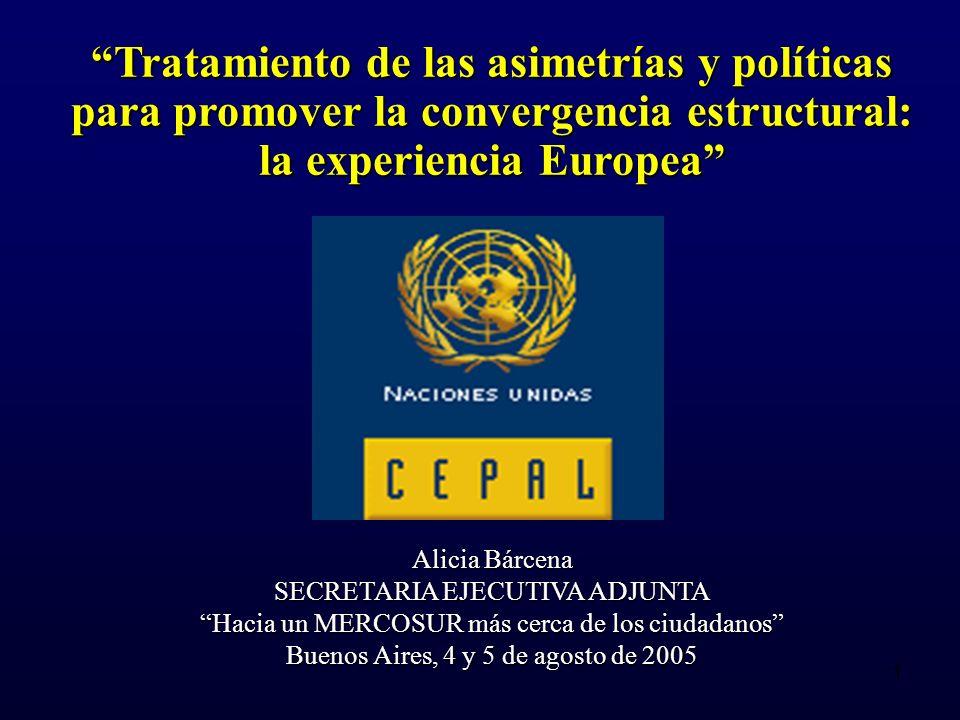 1 Tratamiento de las asimetrías y políticas para promover la convergencia estructural: la experiencia Europea Alicia Bárcena SECRETARIA EJECUTIVA ADJUNTA Hacia un MERCOSUR más cerca de los ciudadanos Buenos Aires, 4 y 5 de agosto de 2005