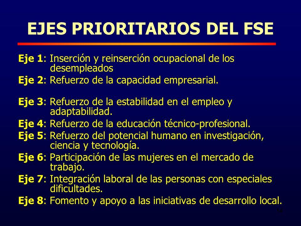 14 EJES PRIORITARIOS DEL FSE Eje 1: Inserción y reinserción ocupacional de los desempleados Eje 2: Refuerzo de la capacidad empresarial.