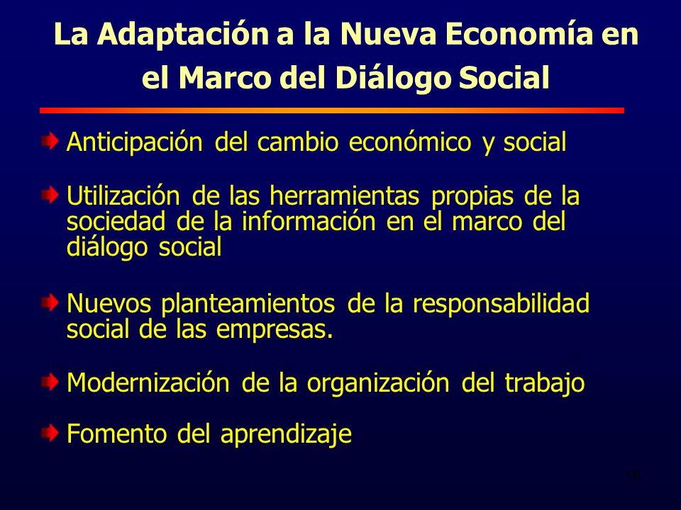 15 La Adaptación a la Nueva Economía en el Marco del Diálogo Social Anticipación del cambio económico y social Utilización de las herramientas propias de la sociedad de la información en el marco del diálogo social Nuevos planteamientos de la responsabilidad social de las empresas.