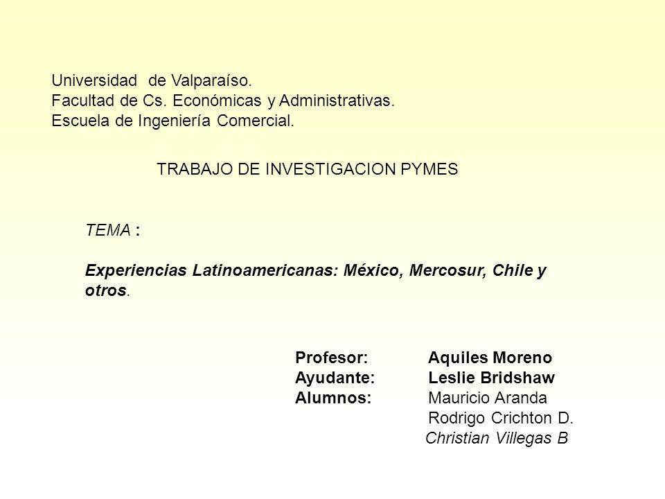 Universidad de Valparaíso. Facultad de Cs. Económicas y Administrativas. Escuela de Ingeniería Comercial. TRABAJO DE INVESTIGACION PYMES TEMA : Experi