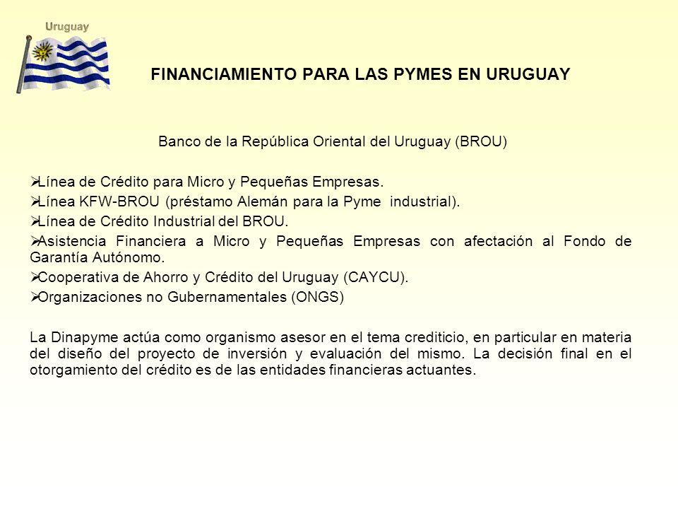 FINANCIAMIENTO PARA LAS PYMES EN URUGUAY Banco de la República Oriental del Uruguay (BROU) Línea de Crédito para Micro y Pequeñas Empresas. Línea KFW-