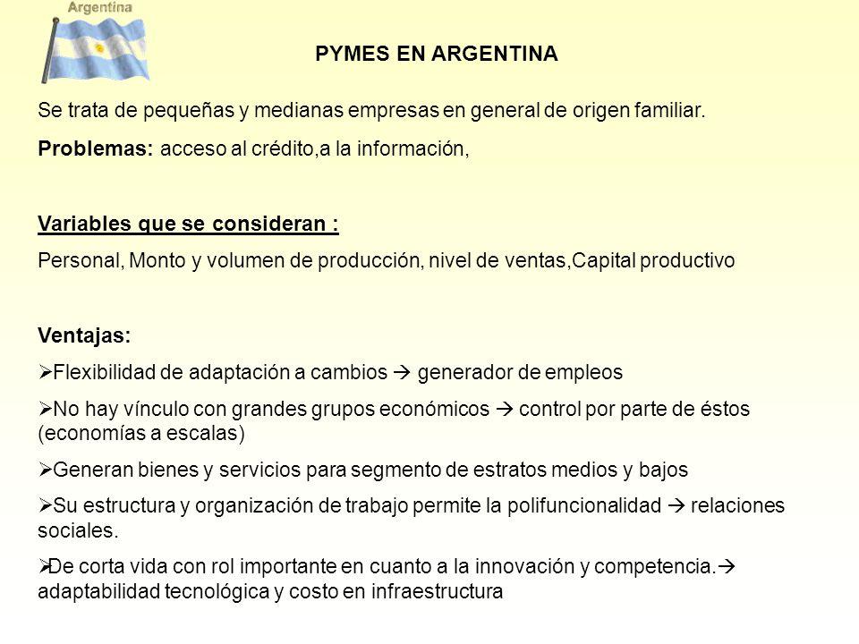 PYMES EN ARGENTINA Se trata de pequeñas y medianas empresas en general de origen familiar. Problemas: acceso al crédito,a la información, Variables qu