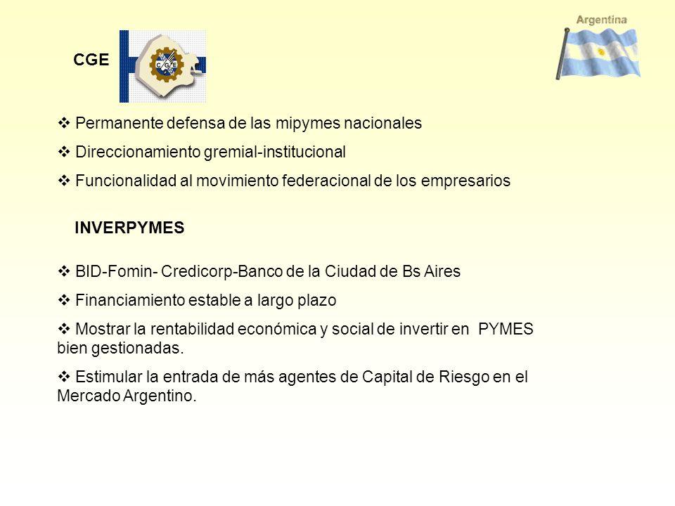 CGE Permanente defensa de las mipymes nacionales Direccionamiento gremial-institucional Funcionalidad al movimiento federacional de los empresarios BI
