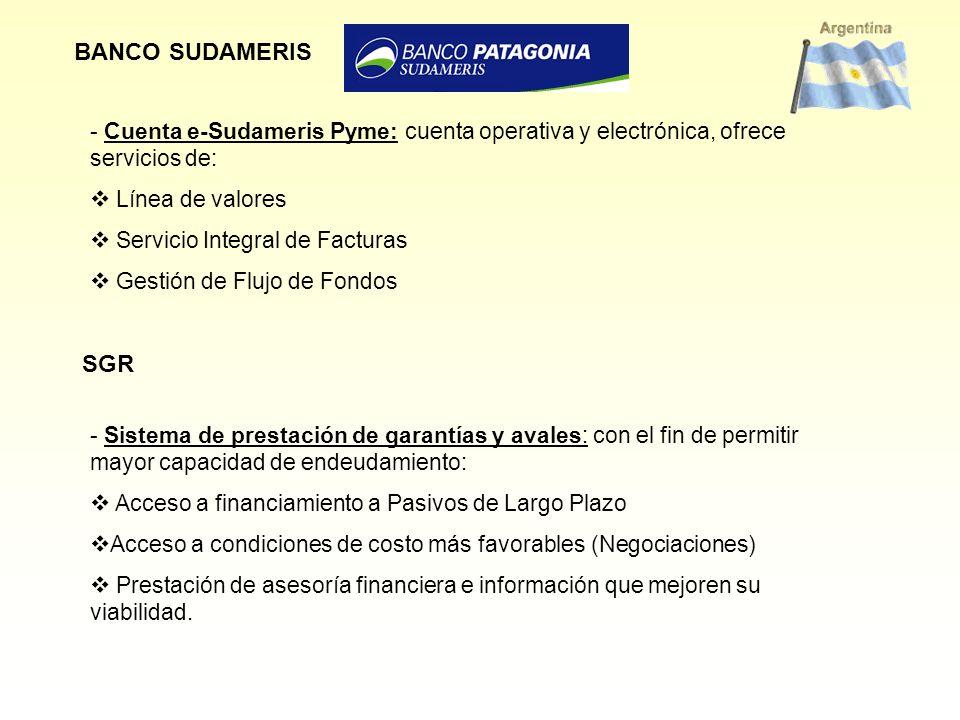 BANCO SUDAMERIS - Cuenta e-Sudameris Pyme: cuenta operativa y electrónica, ofrece servicios de: Línea de valores Servicio Integral de Facturas Gestión