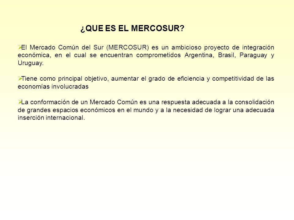 El Mercado Común del Sur (MERCOSUR) es un ambicioso proyecto de integración económica, en el cual se encuentran comprometidos Argentina, Brasil, Paraguay y Uruguay.