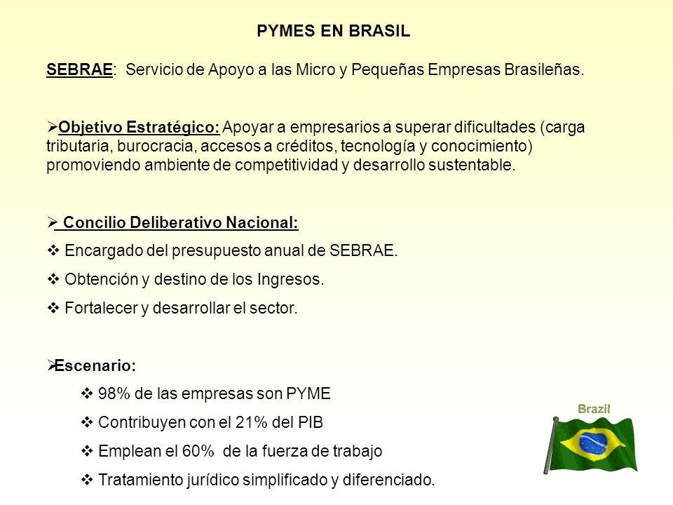PYMES EN BRASIL SEBRAE: Servicio de Apoyo a las Micro y Pequeñas Empresas Brasileñas. Objetivo Estratégico: Apoyar a empresarios a superar dificultade