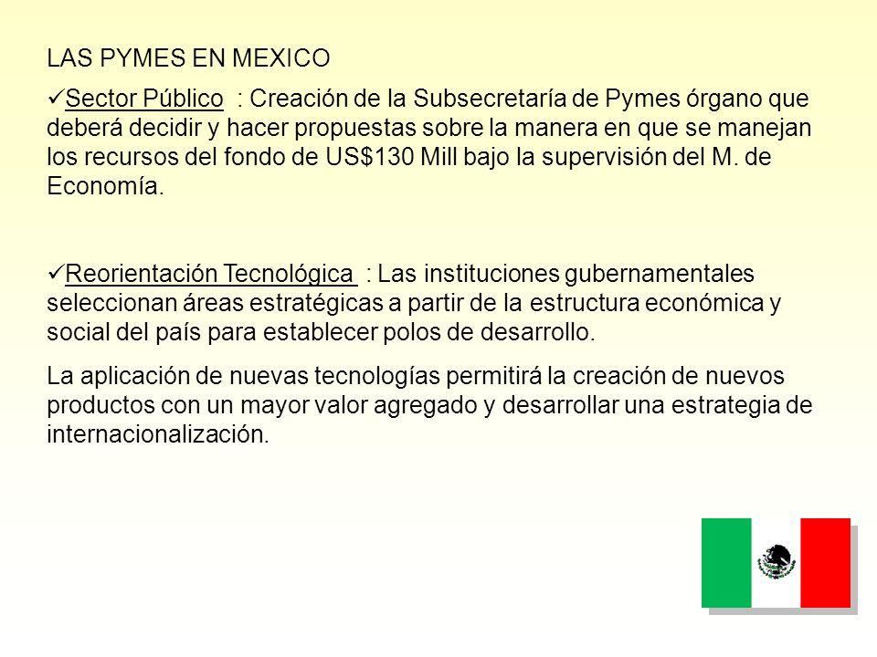 Sector Público : Creación de la Subsecretaría de Pymes órgano que deberá decidir y hacer propuestas sobre la manera en que se manejan los recursos del fondo de US$130 Mill bajo la supervisión del M.