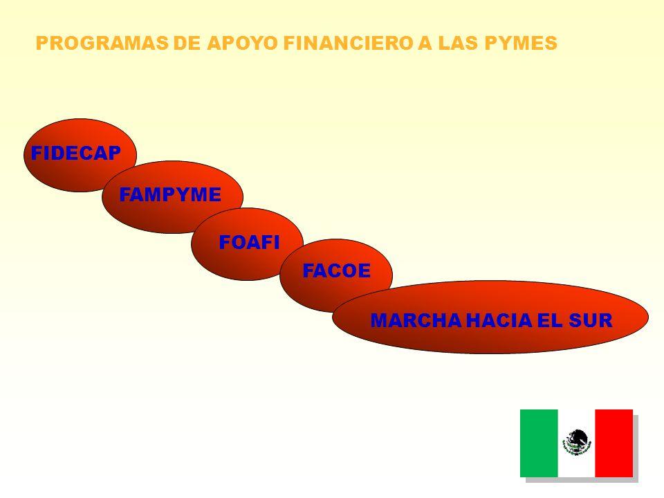 FIDECAP MARCHA HACIA EL SUR FACOE FOAFI FAMPYME PROGRAMAS DE APOYO FINANCIERO A LAS PYMES
