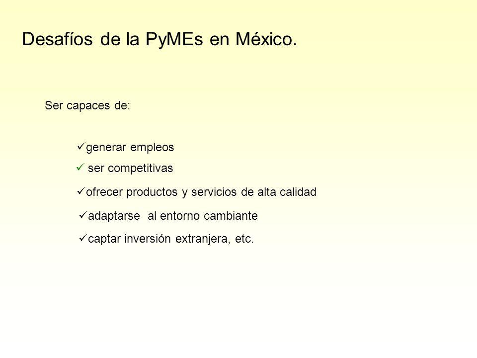 Desafíos de la PyMEs en México. Ser capaces de: generar empleos ser competitivas ofrecer productos y servicios de alta calidad captar inversión extran