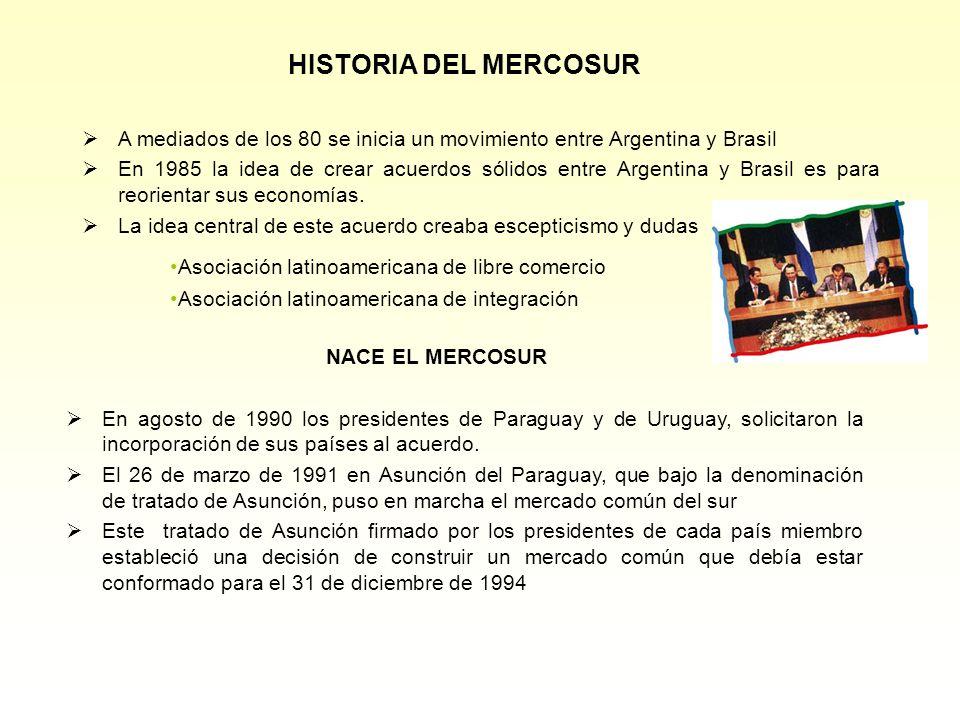 HISTORIA DEL MERCOSUR A mediados de los 80 se inicia un movimiento entre Argentina y Brasil En 1985 la idea de crear acuerdos sólidos entre Argentina y Brasil es para reorientar sus economías.