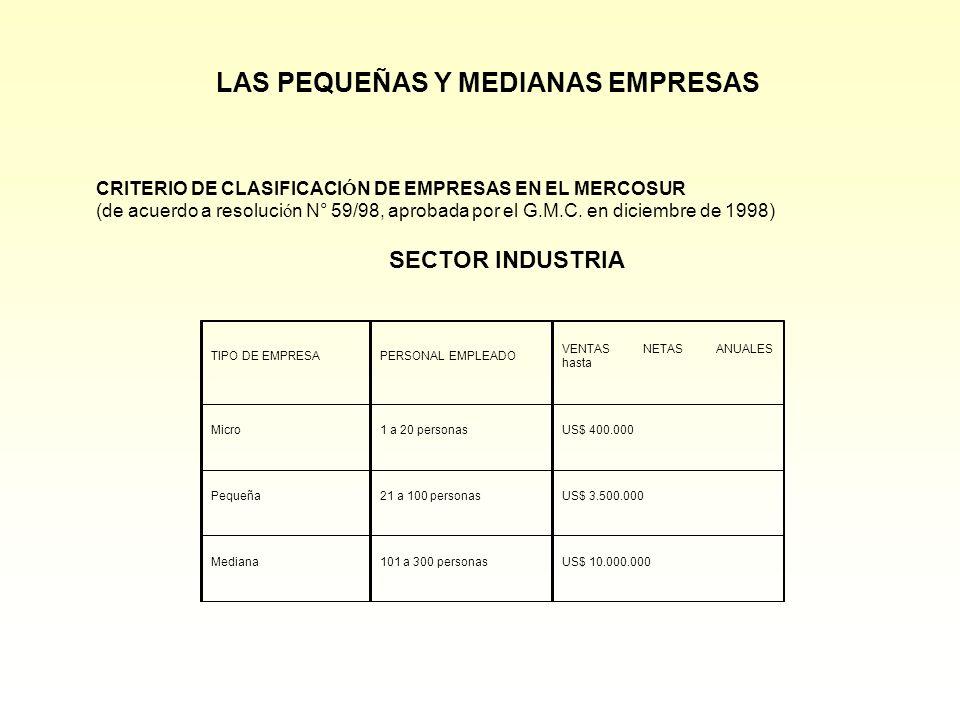 LAS PEQUEÑAS Y MEDIANAS EMPRESAS TIPO DE EMPRESAPERSONAL EMPLEADO VENTAS NETAS ANUALES hasta Micro1 a 20 personasUS$ 400.000 Pequeña21 a 100 personasU
