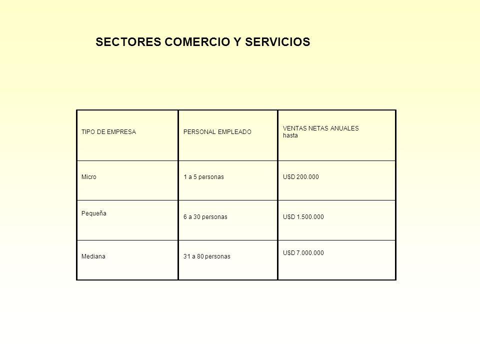 SECTORES COMERCIO Y SERVICIOS TIPO DE EMPRESAPERSONAL EMPLEADO VENTAS NETAS ANUALES hasta Micro1 a 5 personasU$D 200.000 Pequeña 6 a 30 personasU$D 1.500.000 Mediana31 a 80 personas U$D 7.000.000