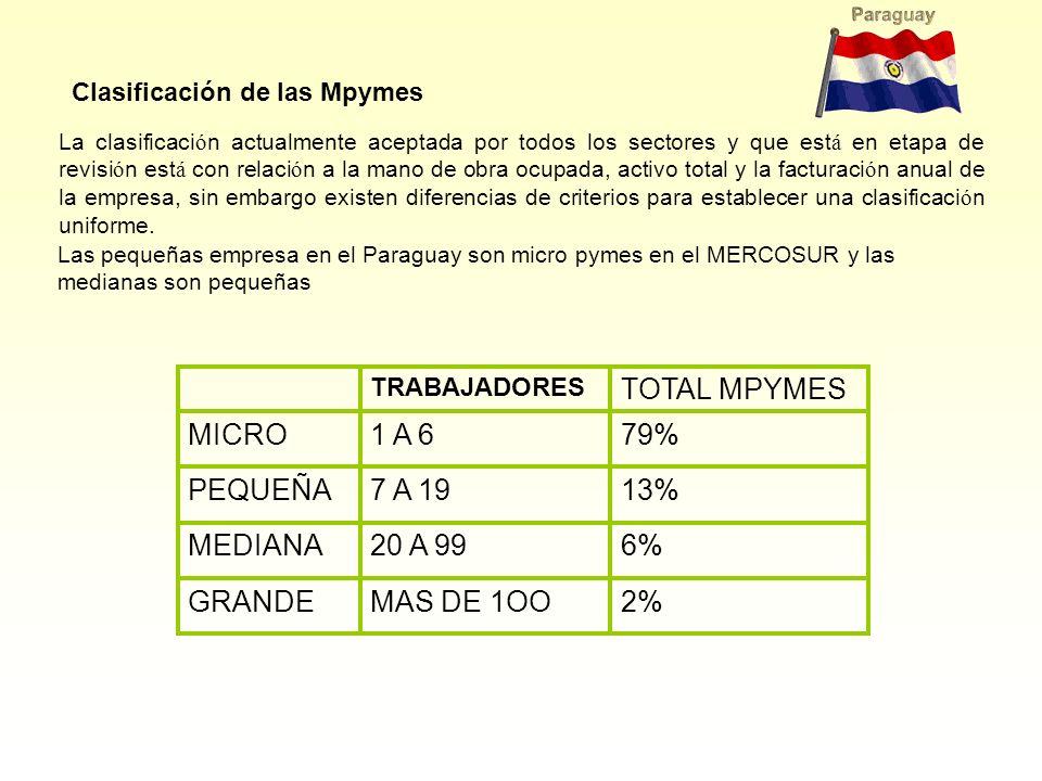 Las pequeñas empresa en el Paraguay son micro pymes en el MERCOSUR y las medianas son pequeñas Clasificación de las Mpymes La clasificaci ó n actualme