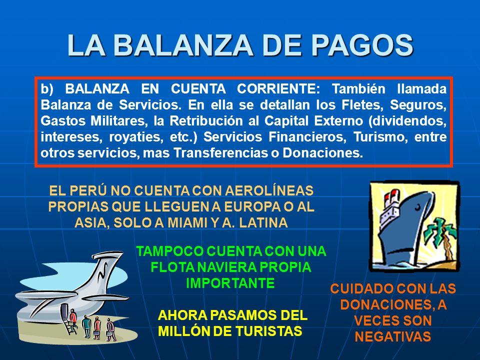 LA BALANZA DE PAGOS b) BALANZA EN CUENTA CORRIENTE: También llamada Balanza de Servicios.